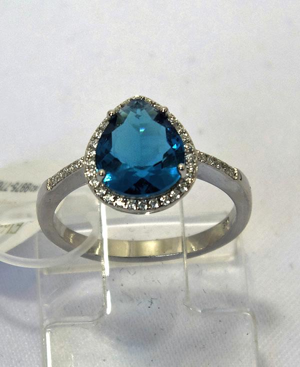 e3635f4c92279 Anel em prata com Zircônias e Topázio azul
