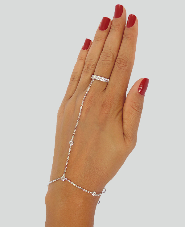 c2cbef4fe6f0a Pulseira de mão com anel em prata 925